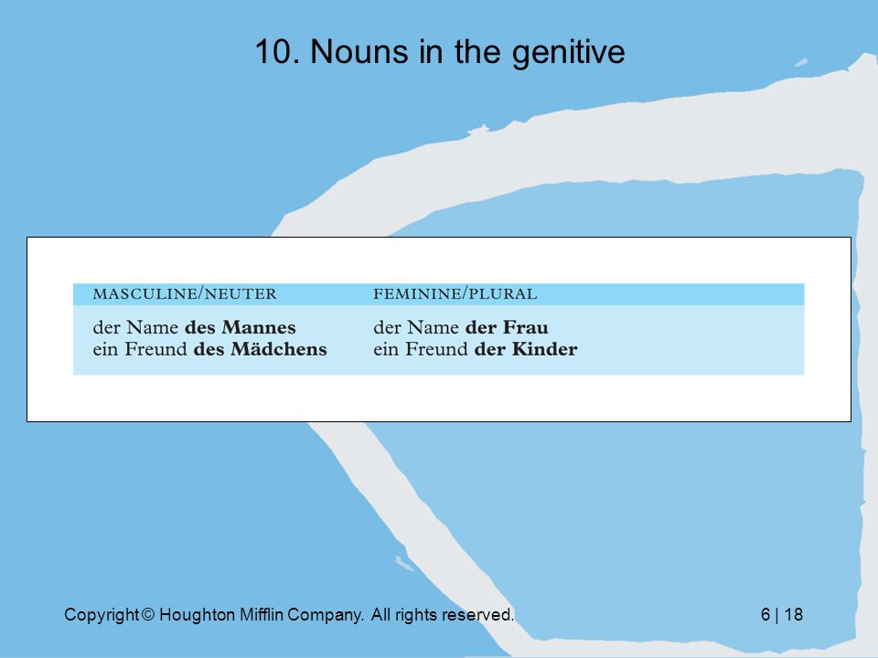 Copyright © Houghton Mifflin Company. All rights reserved.6 | 18 10. Nouns in the genitive