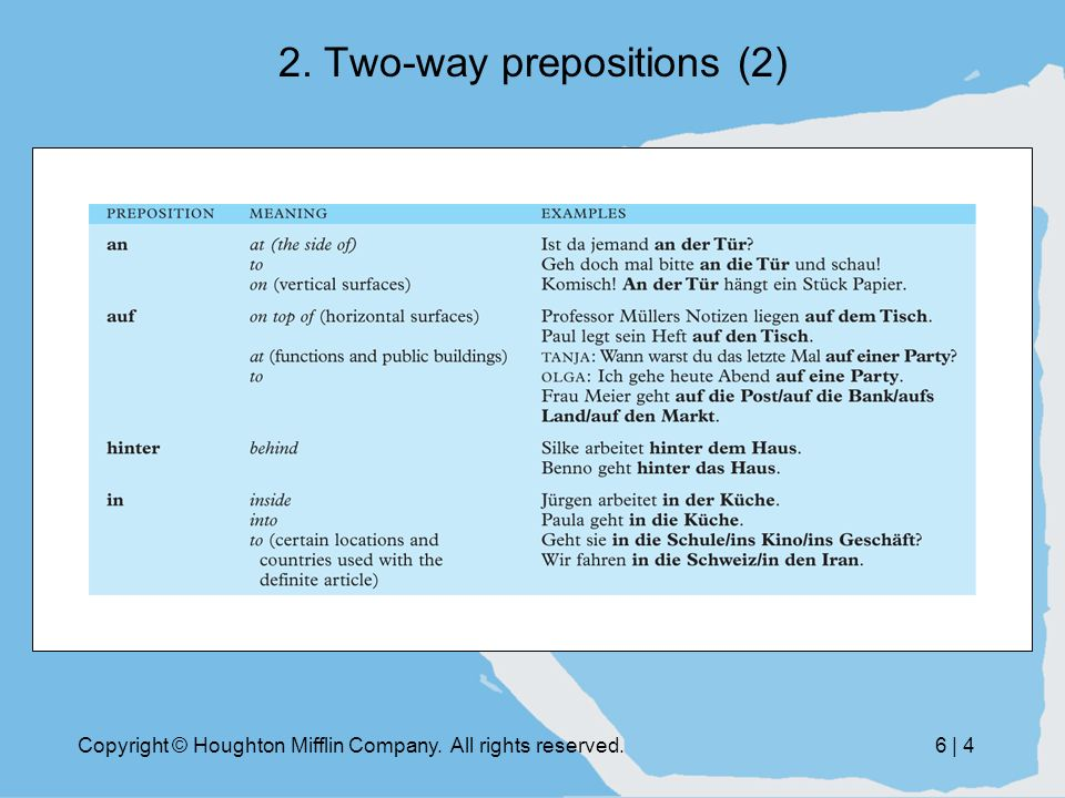 Copyright © Houghton Mifflin Company. All rights reserved.6 | 4 2. Two-way prepositions (2)