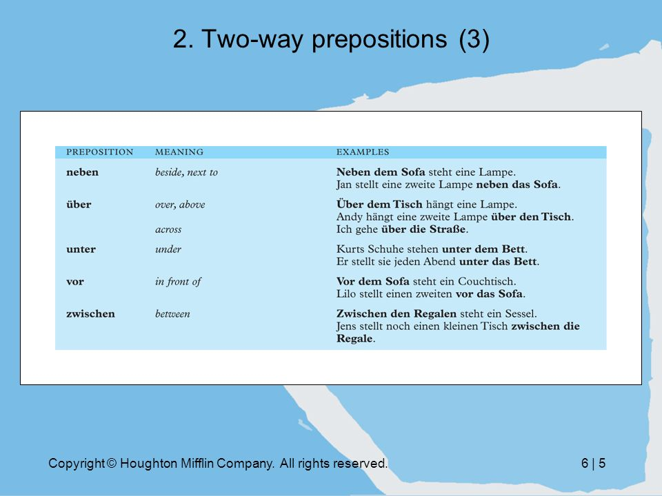 Copyright © Houghton Mifflin Company. All rights reserved.6 | 5 2. Two-way prepositions (3)