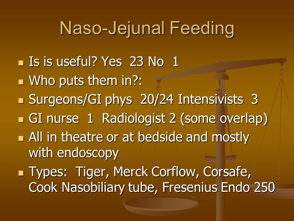 Naso-Jejunal Feeding Is is useful. Yes 23 No 1 Is is useful.