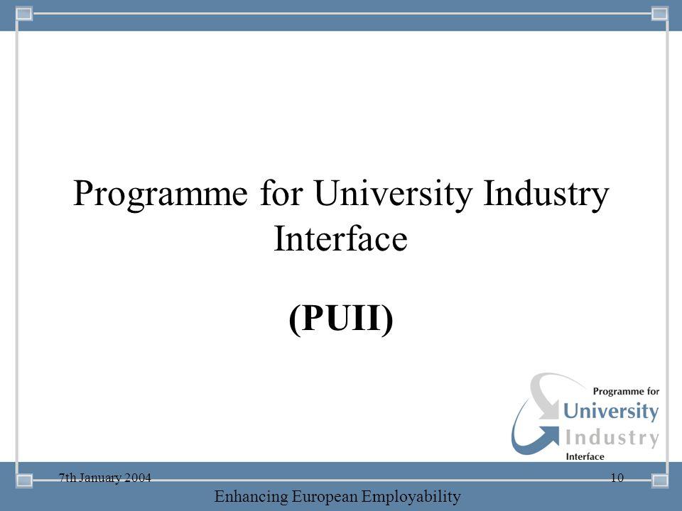 -- 21 st October 2003 -- Thursday 23 rd MarchTThursday 25 th M 2006 Enhancing European Employability 7th January 200410 Programme for University Indus
