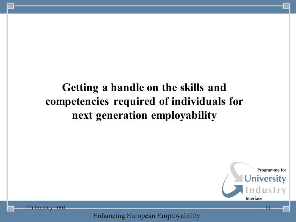 -- 21 st October 2003 -- Thursday 23 rd MarchTThursday 25 th M 2006 Enhancing European Employability 7th January 200414 Getting a handle on the skills