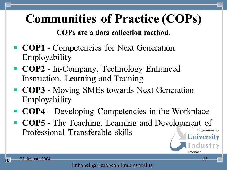 -- 21 st October 2003 -- Thursday 23 rd MarchTThursday 25 th M 2006 Enhancing European Employability 7th January 200415 Communities of Practice (COPs)