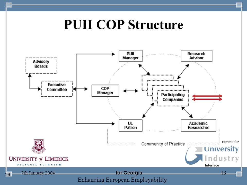 -- 21 st October 2003 -- Thursday 23 rd MarchTThursday 25 th M 2006 Enhancing European Employability 7th January 200416 PUII COP Structure 16 for Geor