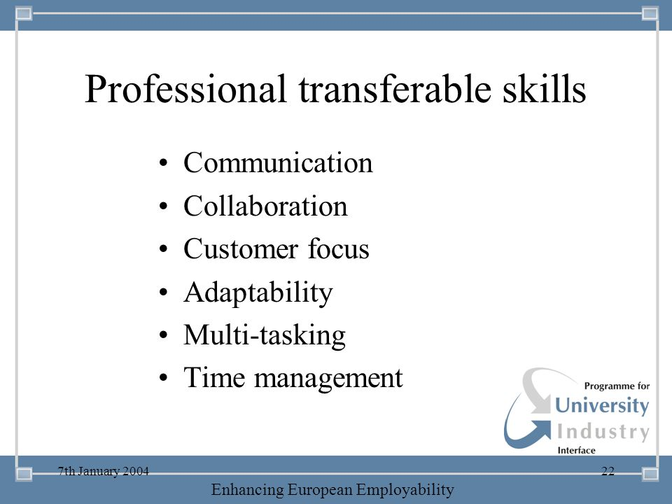 -- 21 st October 2003 -- Thursday 23 rd MarchTThursday 25 th M 2006 Enhancing European Employability 7th January 200422 Professional transferable skil