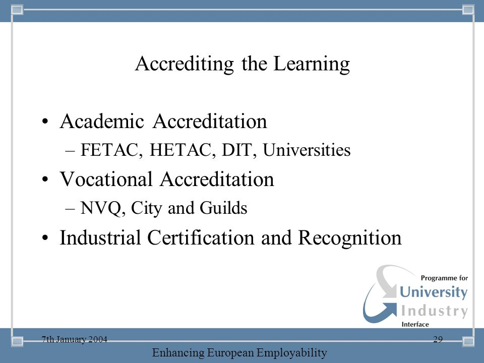 -- 21 st October 2003 -- Thursday 23 rd MarchTThursday 25 th M 2006 Enhancing European Employability 7th January 200429 Accrediting the Learning Acade