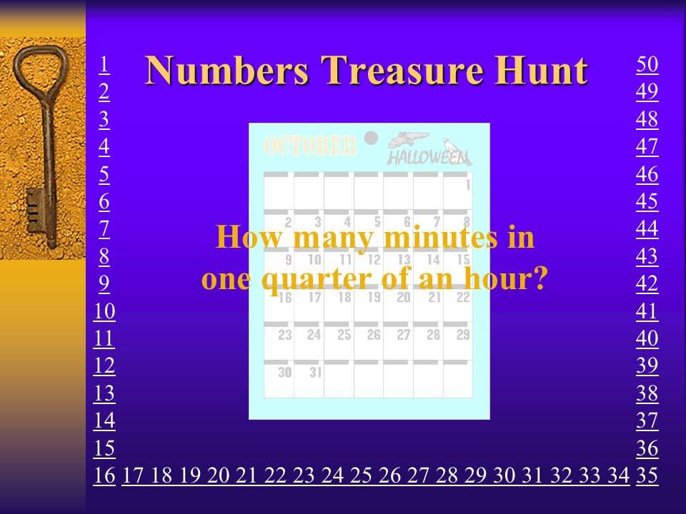 Numbers Treasure Hunt How many minutes in one quarter of an hour? 1 2 3 4 5 6 7 8 9 10 11 12 13 14 15 16 17 18 19 20 21 22 23 24 25 26 27 28 29 30 31