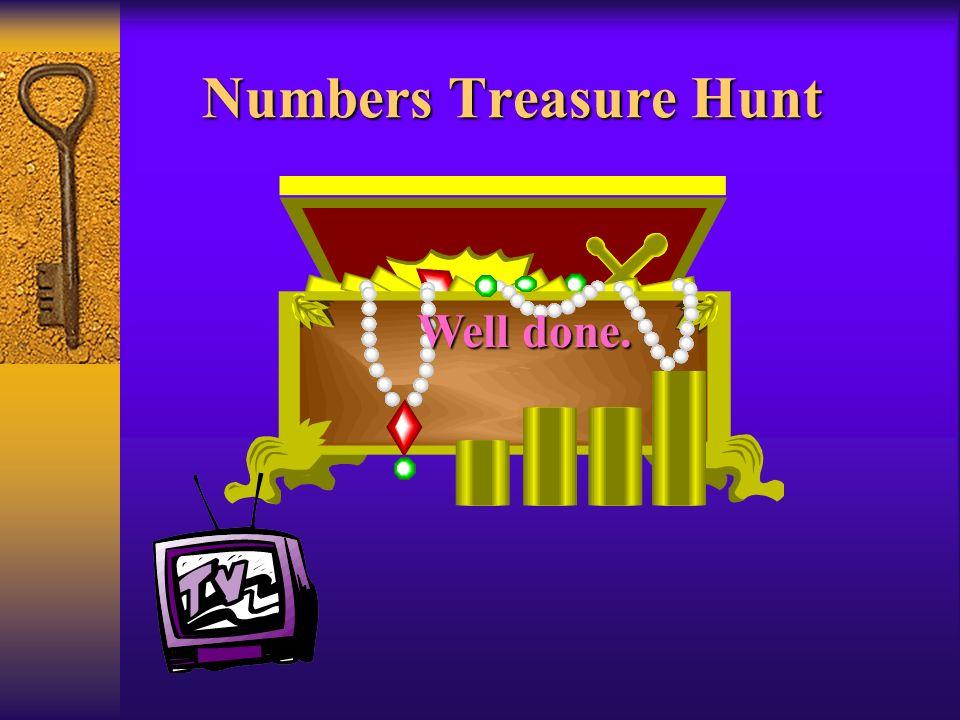 Numbers Treasure Hunt Well done.