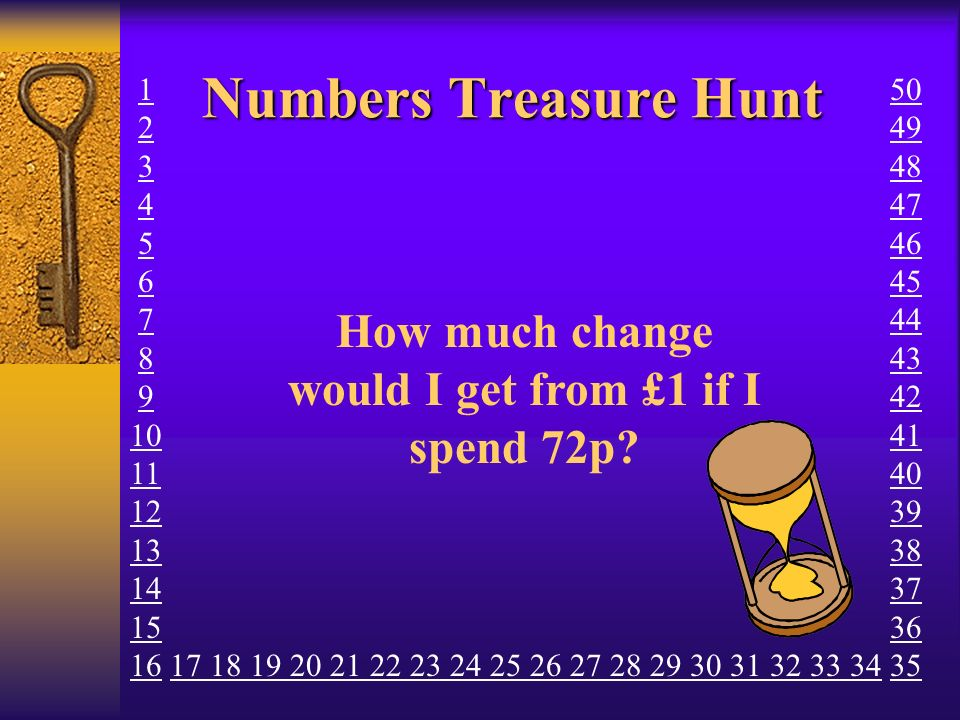 Numbers Treasure Hunt How much change would I get from £1 if I spend 72p? 1 2 3 4 5 6 7 8 9 10 11 12 13 14 15 16 17 18 19 20 21 22 23 24 25 26 27 28 2