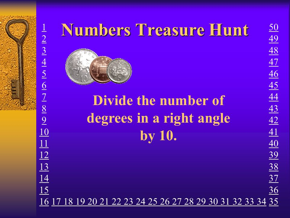 Numbers Treasure Hunt How many minutes in one quarter of an hour.