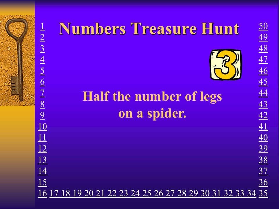 Numbers Treasure Hunt BAD LUCK. Have another go.