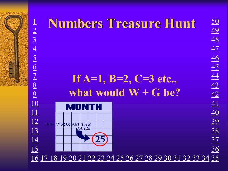 Numbers Treasure Hunt How many legs do two elephants, two spiders and two ants have altogether.
