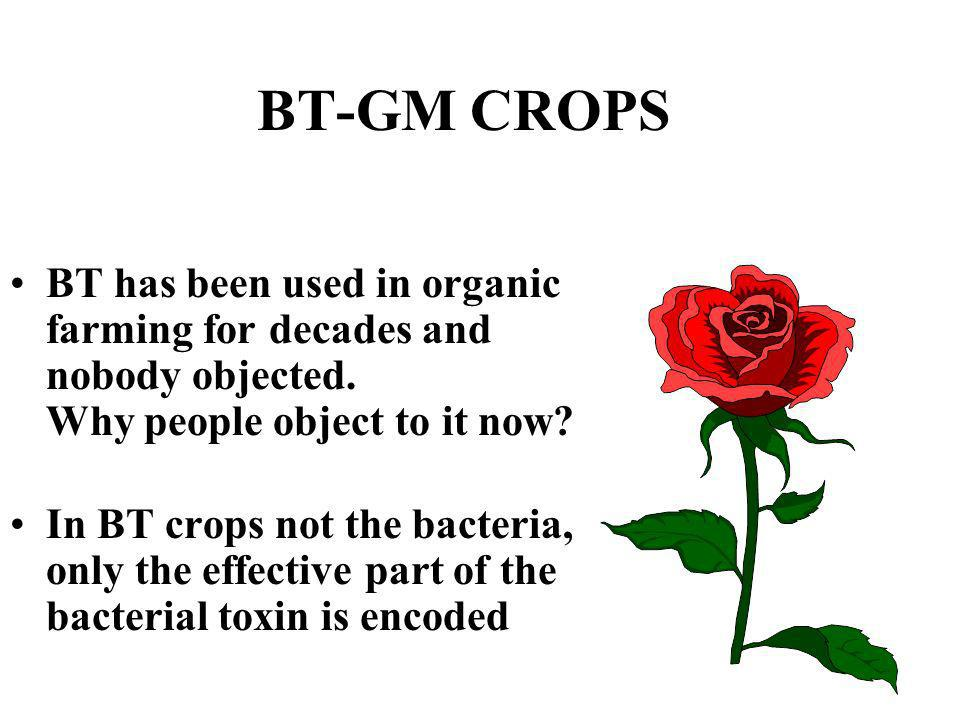 BT-GM CROPS BT has been used in organic farming for decades and nobody objected. Why people object to it now? In BT crops not the bacteria, only the e