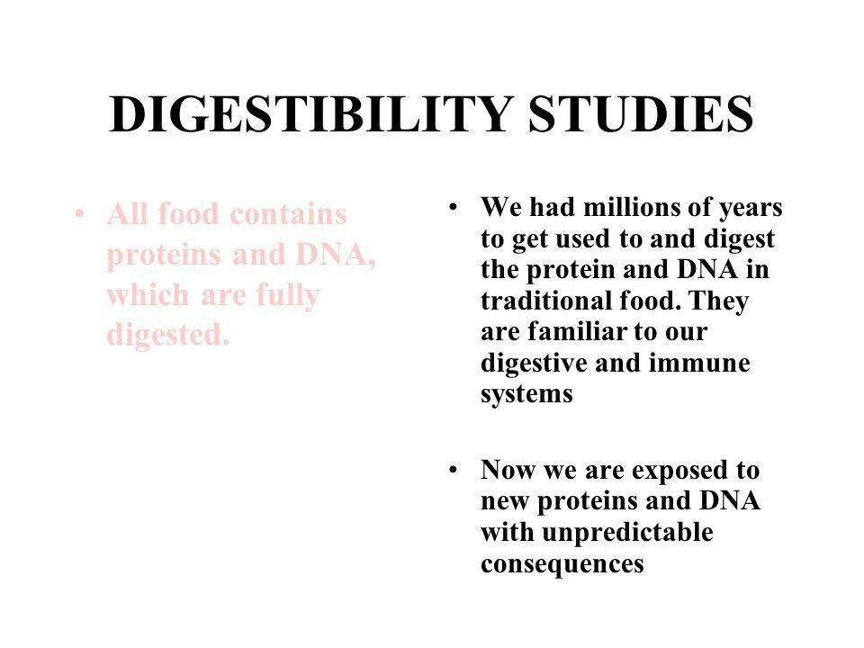 DIGESTIBILITY STUDIES All food contains proteins and DNA, which are fully digested.