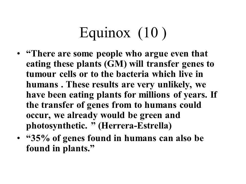 Equinox (10 ) There are some people who argue even that eating these plants (GM) will transfer genes to tumour cells or to the bacteria which live in humans.