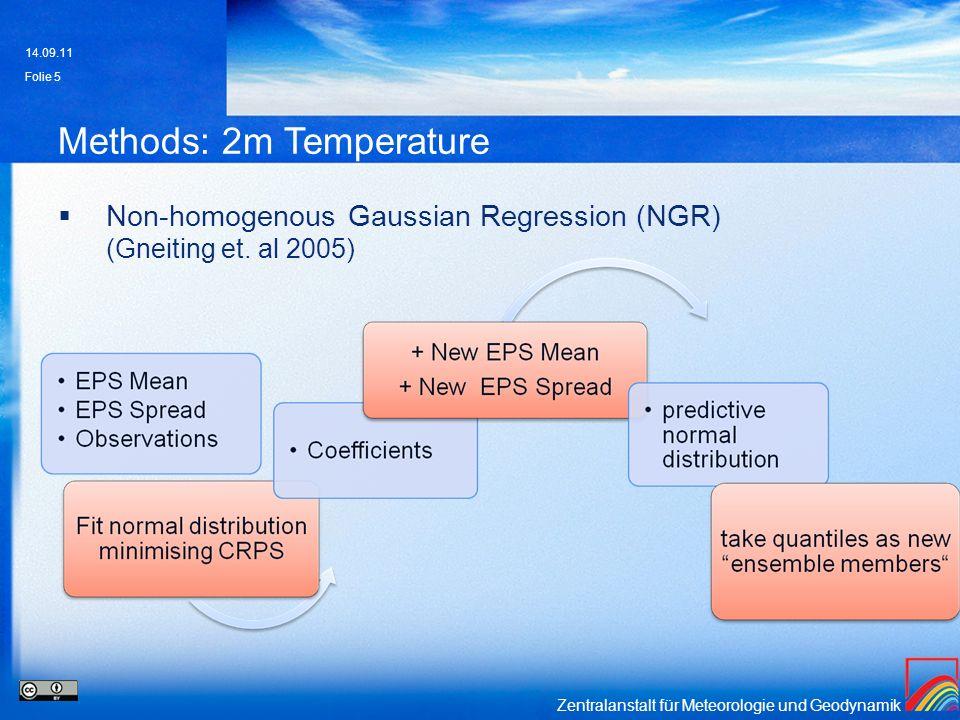 Zentralanstalt für Meteorologie und Geodynamik Methods: 2m Temperature Non-homogenous Gaussian Regression (NGR) (Gneiting et. al 2005) 14.09.11 Folie