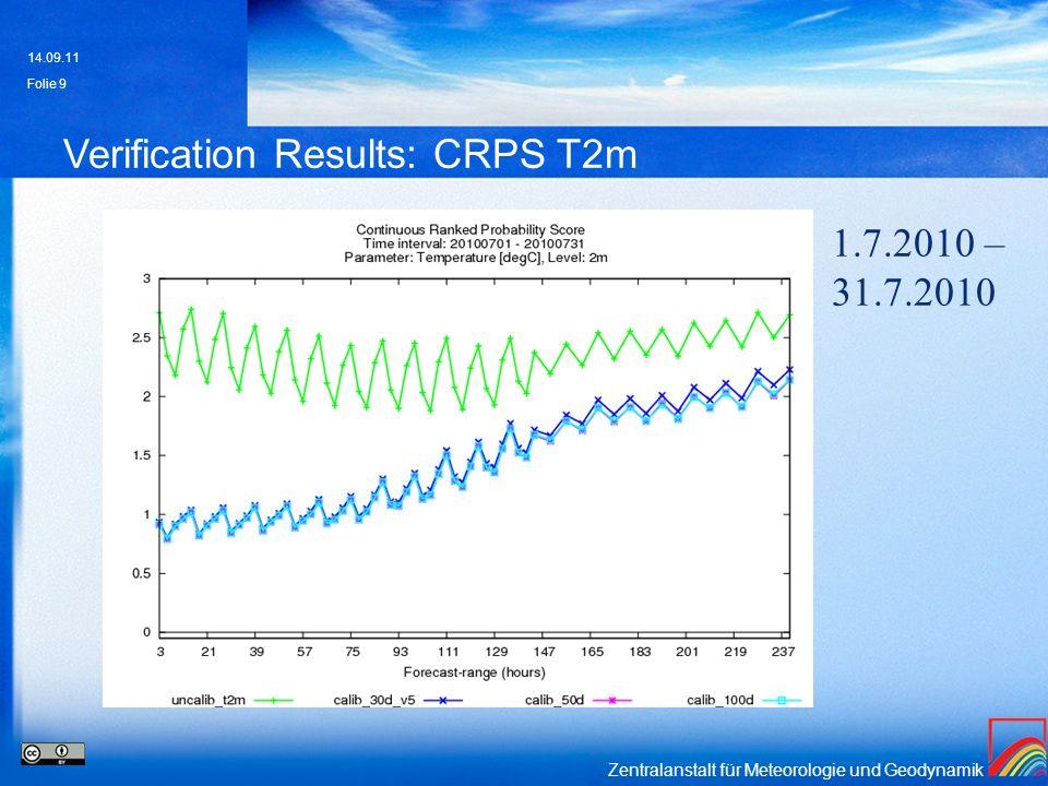 Zentralanstalt für Meteorologie und Geodynamik Verification Results: CRPS T2m 14.09.11 Folie 9 1.7.2010 – 31.7.2010