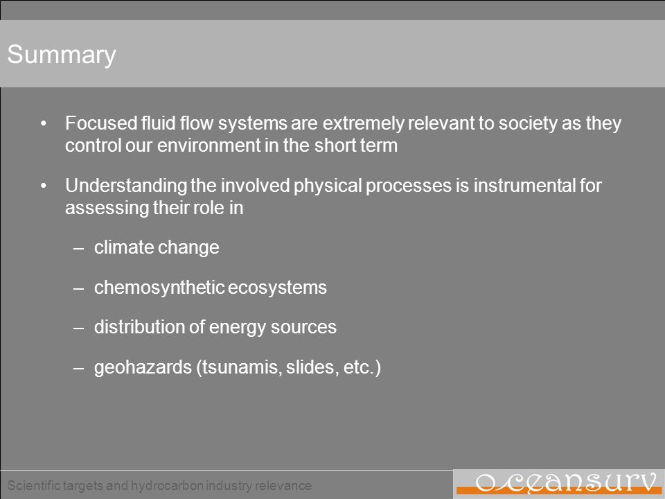 Scientific targets and hydrocarbon industry relevance Overview Introduction –Focused fluid flow systems –Relevance of focused fluid flow systems –Seis