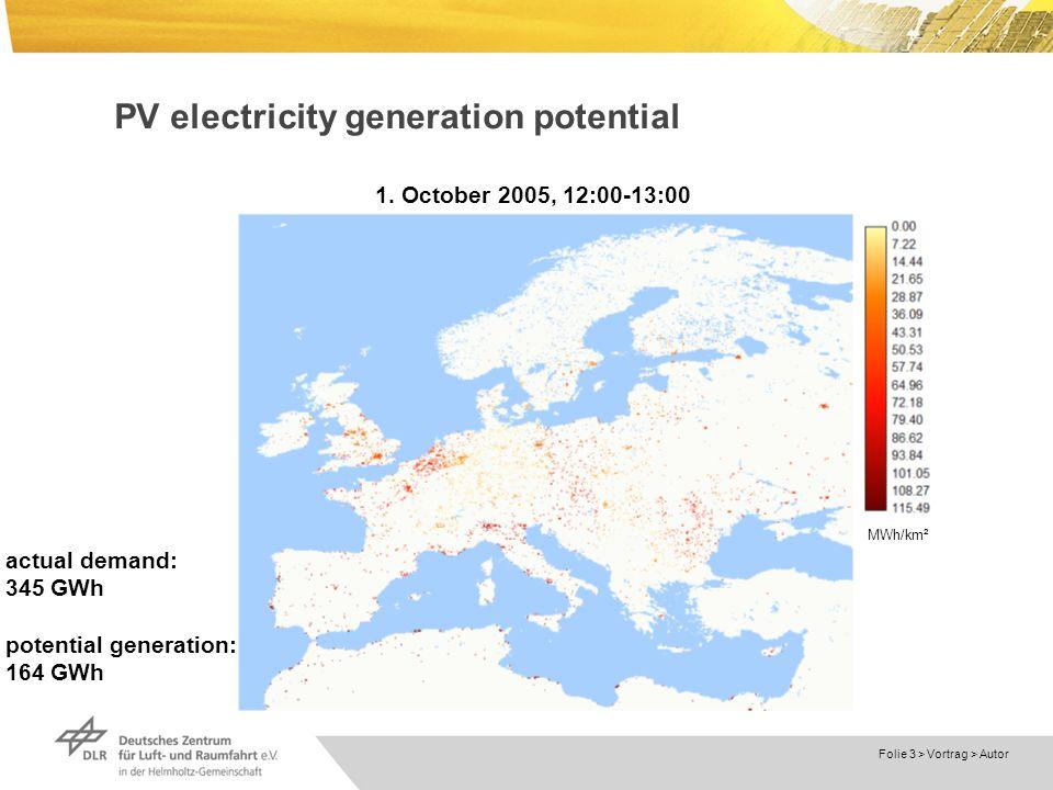 Dokumentname > 23.11.2004 Folie 3 > Vortrag > Autor PV electricity generation potential MWh/km² 1.