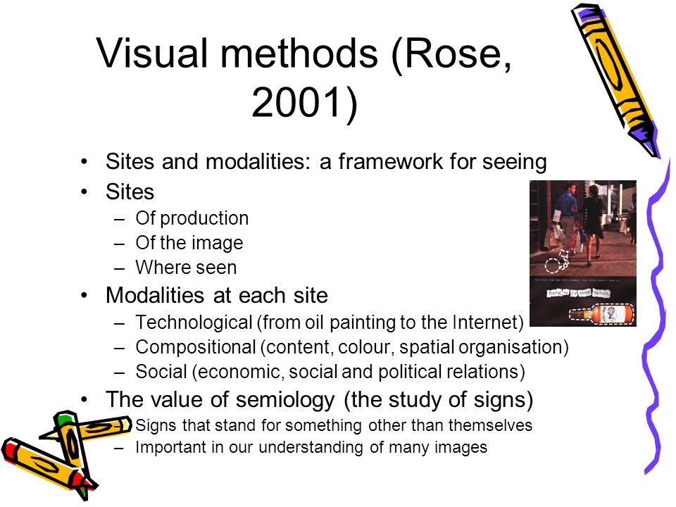 Visual methods (Rose, 2001) Sites and modalities: a framework for seeing Sites –Of production –Of the image –Where seen Modalities at each site –Technological (from oil painting to the Internet) –Compositional (content, colour, spatial organisation) –Social (economic, social and political relations) The value of semiology (the study of signs) –Signs that stand for something other than themselves –Important in our understanding of many images