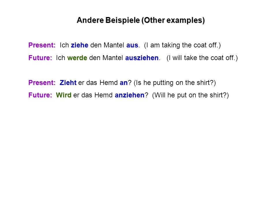 Andere Beispiele (Other examples) Present:ziehe aus Present: Ich ziehe den Mantel aus.