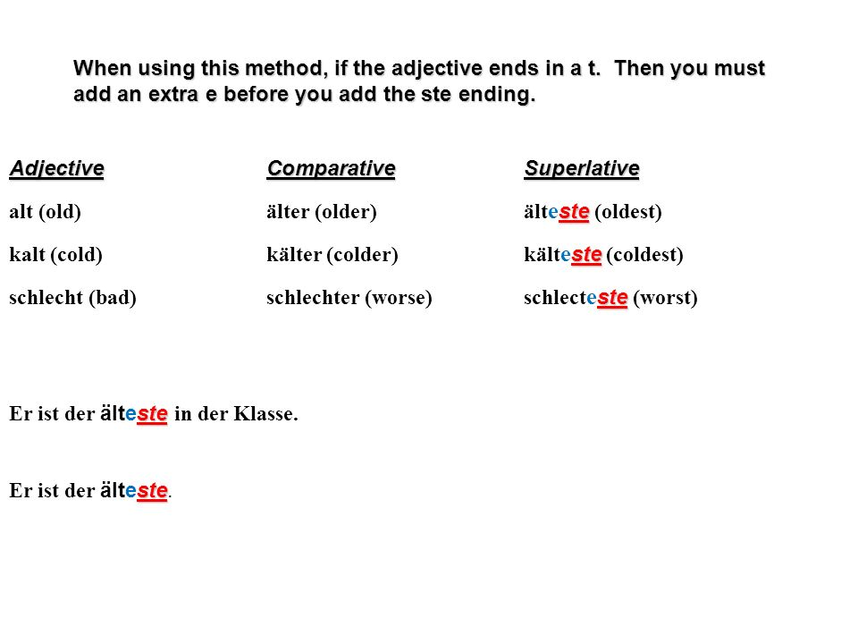 When using this method, if the adjective ends in a t. Then you must add an extra e before you add the ste ending. AdjectiveComparativeSuperlative ste