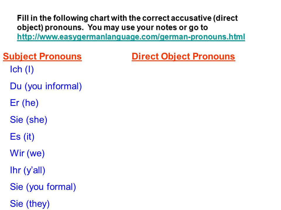Fill in the following chart with the correct accusative (direct object) pronouns. You may use your notes or go to http://www.easygermanlanguage.com/ge