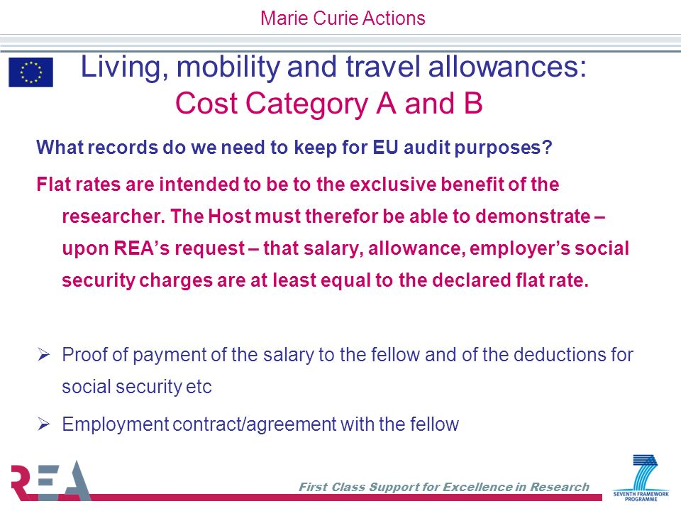 First Class Support for Excellence in Research Living, mobility and travel allowances: Cost Category A and B What records do we need to keep for EU au