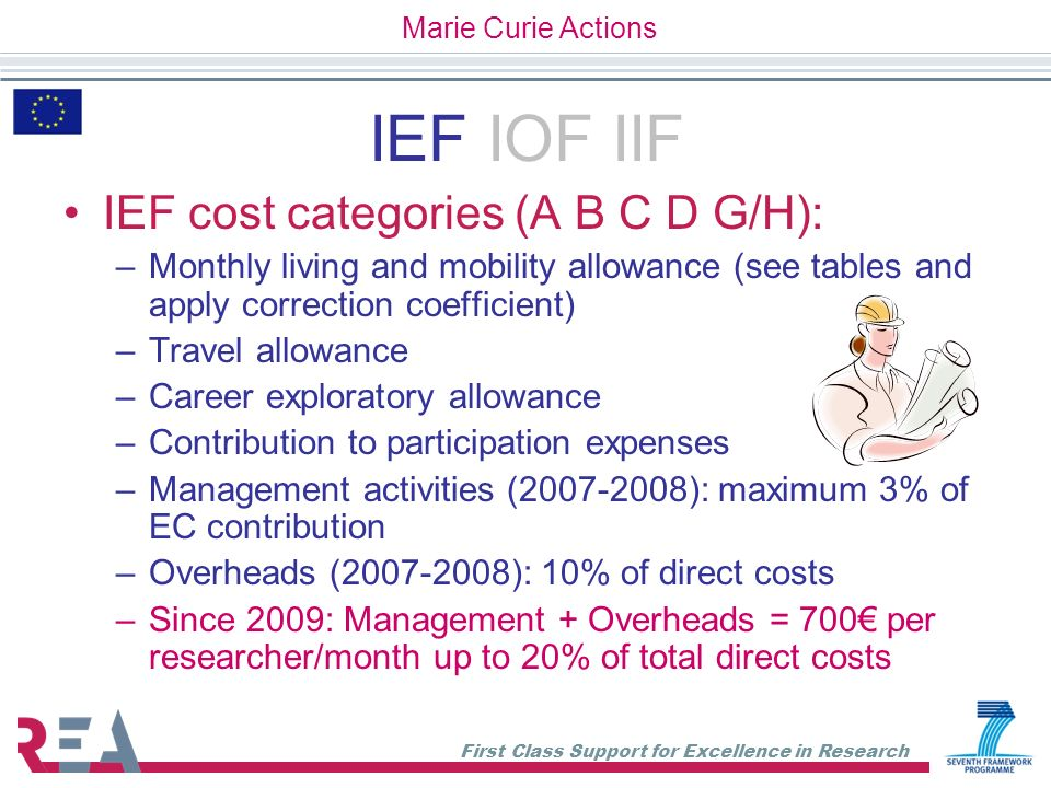 First Class Support for Excellence in Research IEF IOF IIF IEF cost categories (A B C D G/H): –Monthly living and mobility allowance (see tables and a