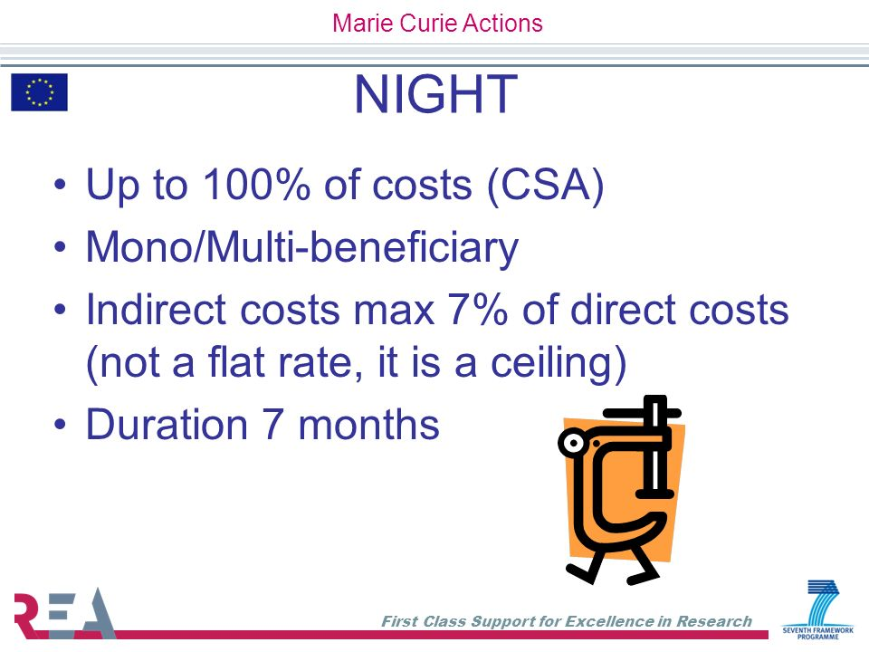 First Class Support for Excellence in Research NIGHT Up to 100% of costs (CSA) Mono/Multi-beneficiary Indirect costs max 7% of direct costs (not a fla