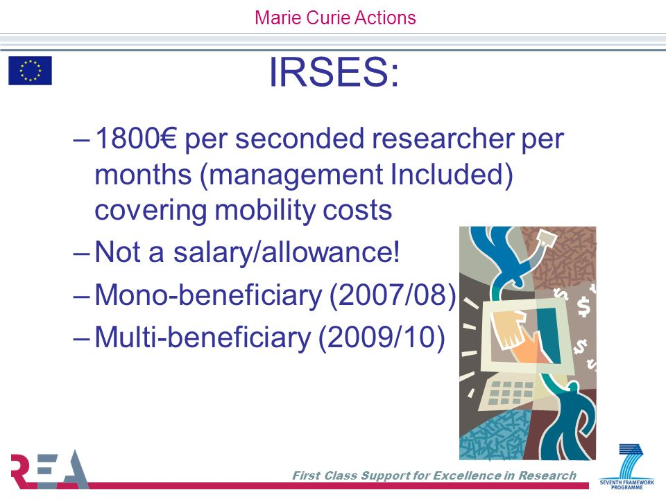 First Class Support for Excellence in Research IRSES: –1800 per seconded researcher per months (management Included) covering mobility costs –Not a sa