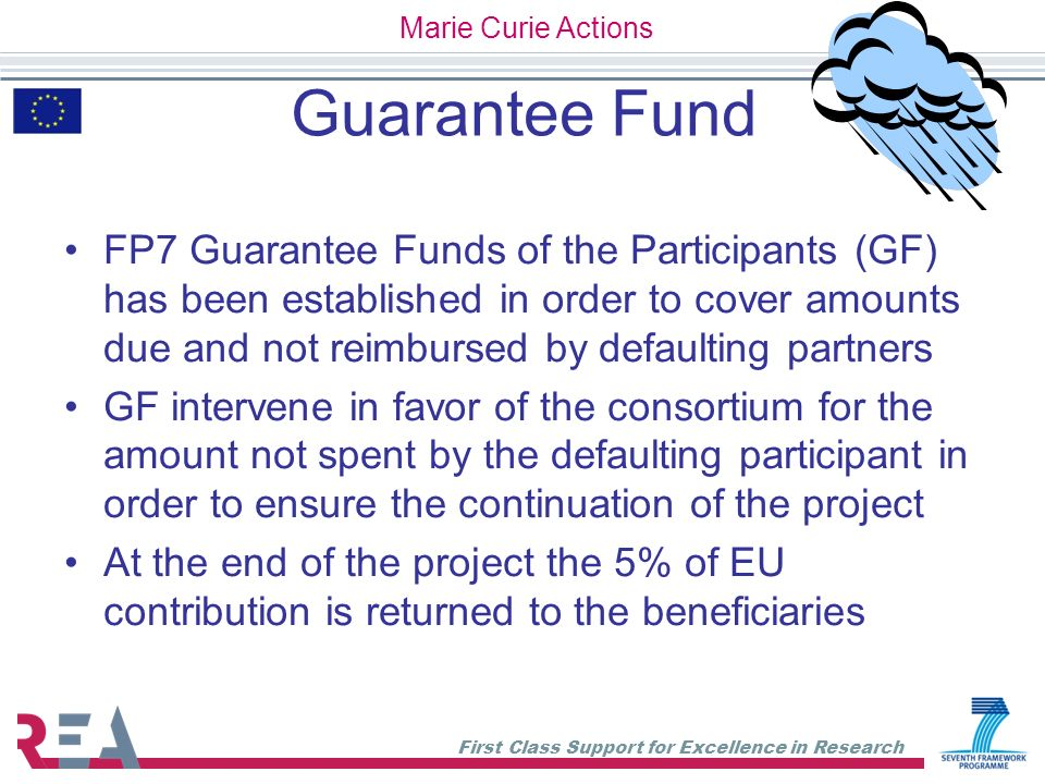 First Class Support for Excellence in Research Guarantee Fund FP7 Guarantee Funds of the Participants (GF) has been established in order to cover amou