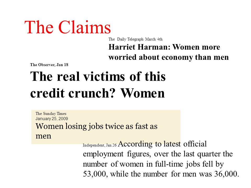The Claims The Daily Telegraph March 4th Harriet Harman: Women more worried about economy than men The Observer, Jan 18 The real victims of this credi