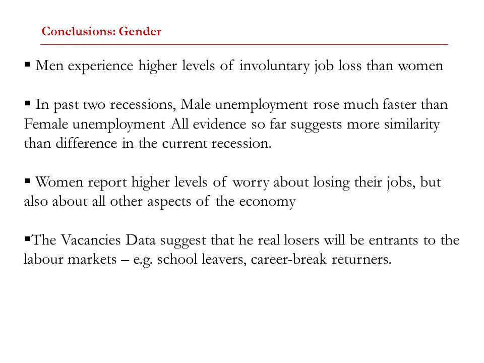 Men experience higher levels of involuntary job loss than women In past two recessions, Male unemployment rose much faster than Female unemployment Al