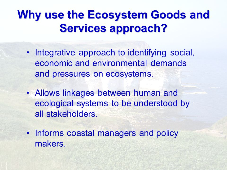 Why use the Ecosystem Goods and Services approach? Integrative approach to identifying social, economic and environmental demands and pressures on eco