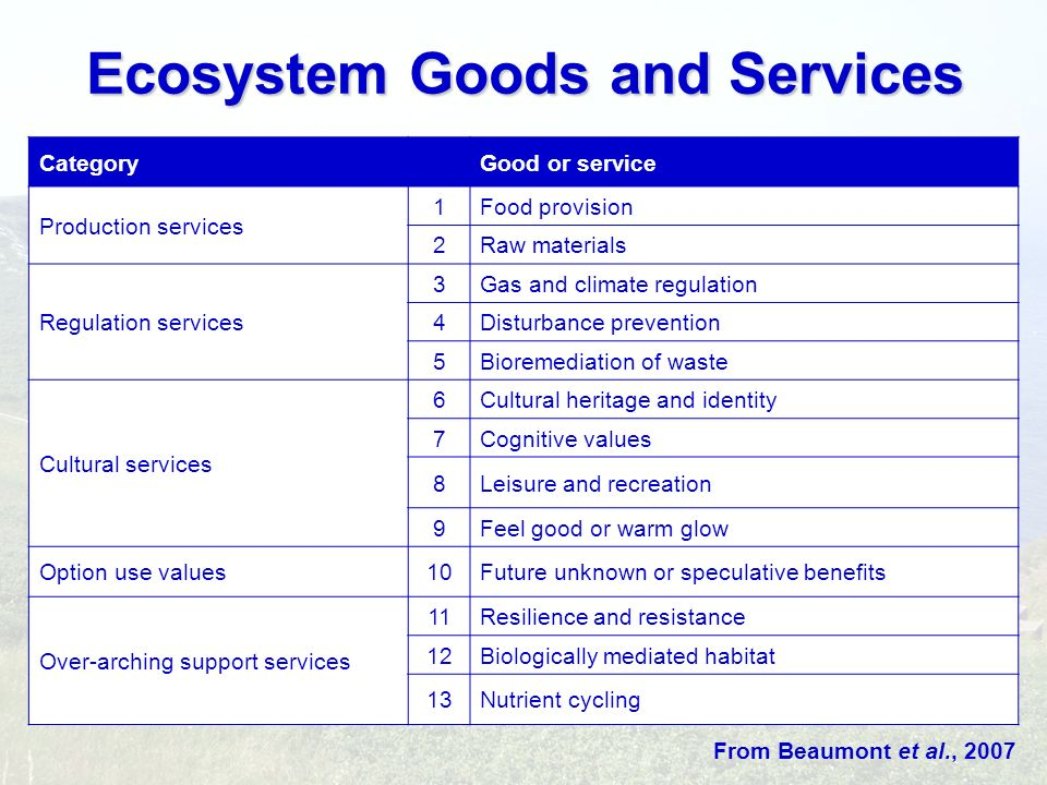Ecosystem Goods and Services CategoryGood or service Production services 1Food provision 2Raw materials Regulation services 3Gas and climate regulatio