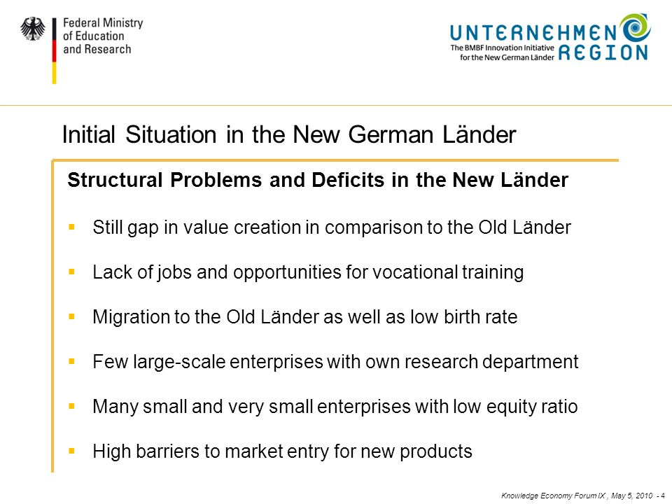 Knowledge Economy Forum IX, May 5, 2010 - 4 4 Ausgangslage / Handlungsbedarf (II) Structural Problems and Deficits in the New Länder Still gap in value creation in comparison to the Old Länder Lack of jobs and opportunities for vocational training Migration to the Old Länder as well as low birth rate Few large-scale enterprises with own research department Many small and very small enterprises with low equity ratio High barriers to market entry for new products Initial Situation in the New German Länder