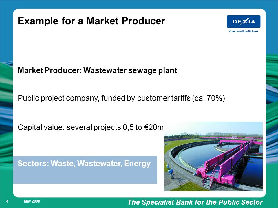 Füllung weiß/ keine Füllung The Specialist Bank for the Public Sector May 2008 4 Example for a Market Producer Market Producer: Wastewater sewage plant Public project company, funded by customer tariffs (ca.