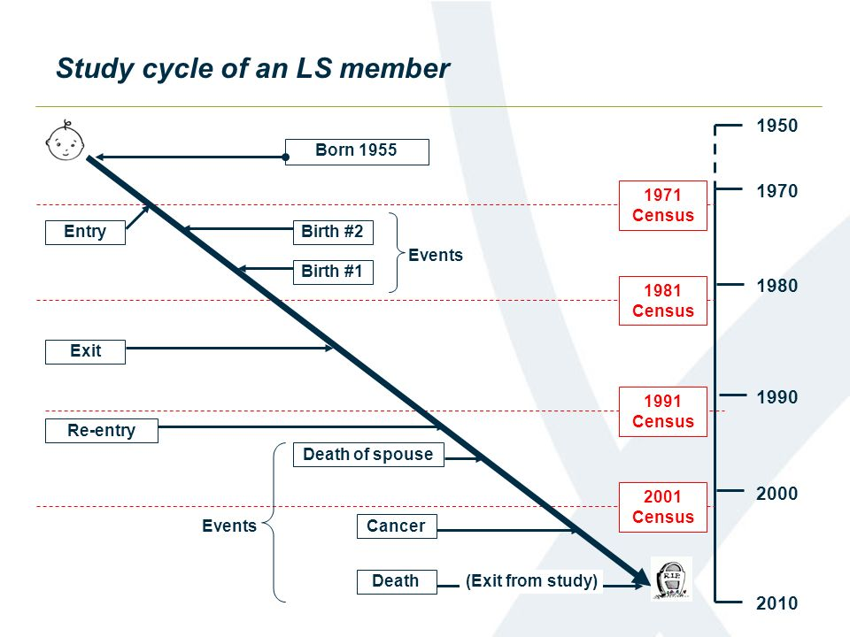 Study cycle of an LS member 1950 1970 1980 2010 1990 2000 2001 Census 1991 Census 1981 Census 1971 Census Born 1955 Entry Birth #1 Birth #2 Events Exi