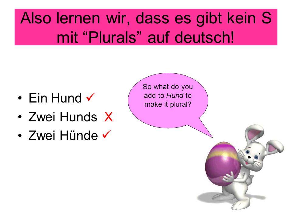 Also lernen wir, dass es gibt kein S mit Plurals auf deutsch.
