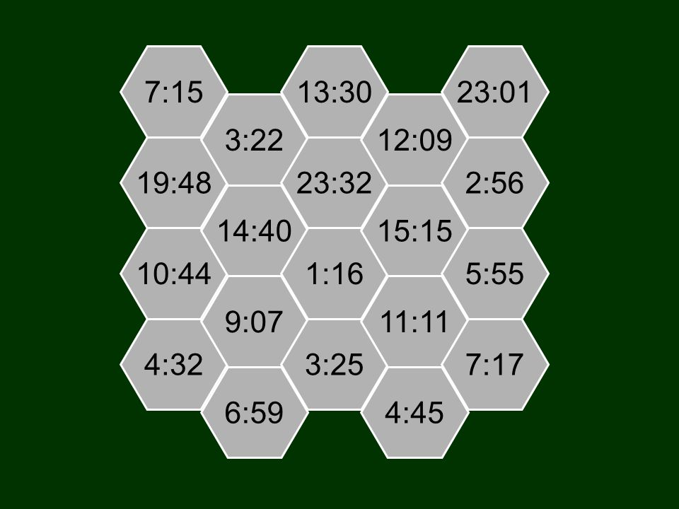 7:15 19:48 10:44 4:32 3:22 14:40 9:07 6:59 13:30 23:32 1:16 3:25 12:09 15:15 11:11 4:45 23:01 2:56 5:55 7:17