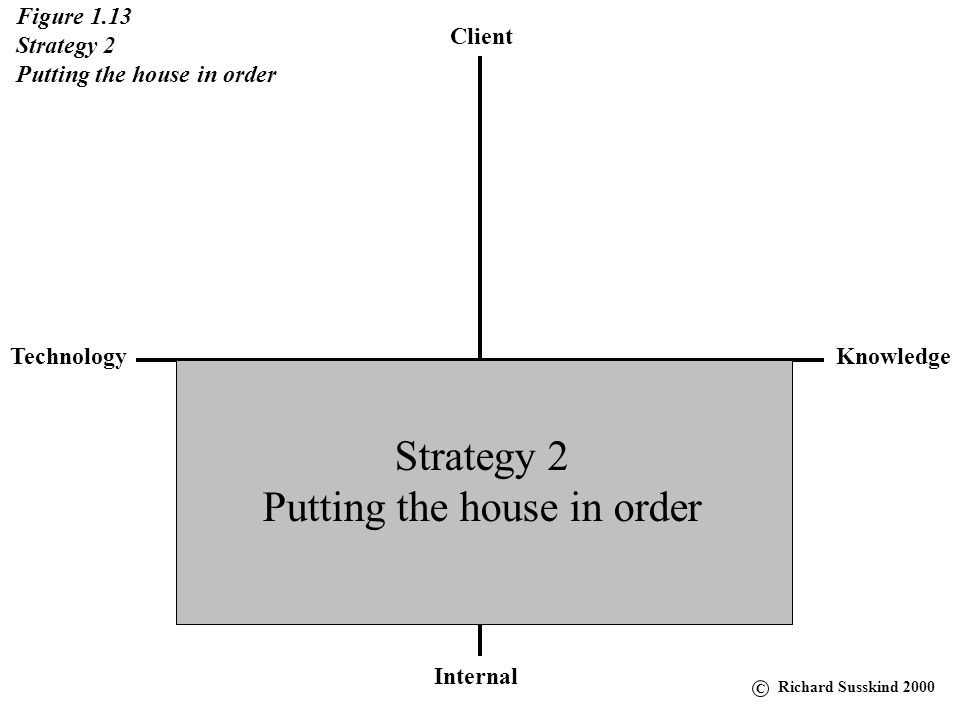 Client KnowledgeTechnology Internal Figure 1.13 Strategy 2 Putting the house in order Strategy 2 Putting the house in order C Richard Susskind 2000