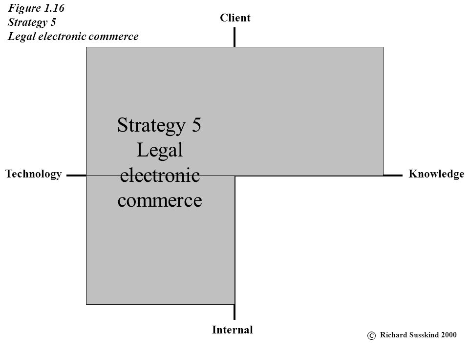 Client KnowledgeTechnology Internal Figure 1.16 Strategy 5 Legal electronic commerce Strategy 5 Legal electronic commerce C Richard Susskind 2000
