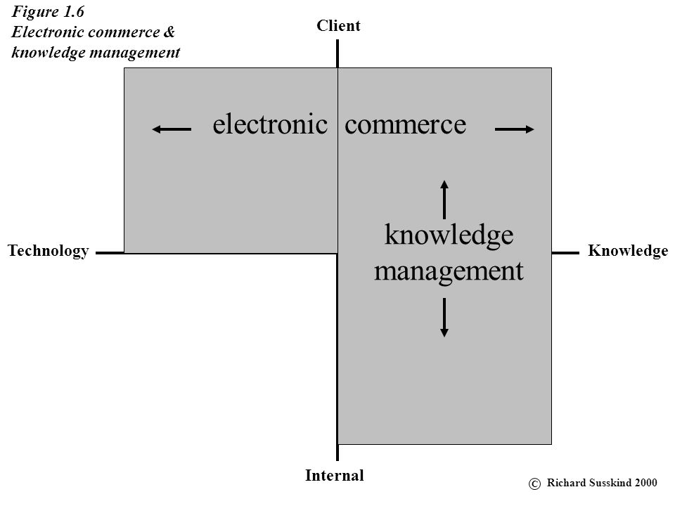 Client KnowledgeTechnology Internal Figure 1.6 Electronic commerce & knowledge management electroniccommerce knowledge management C Richard Susskind 2