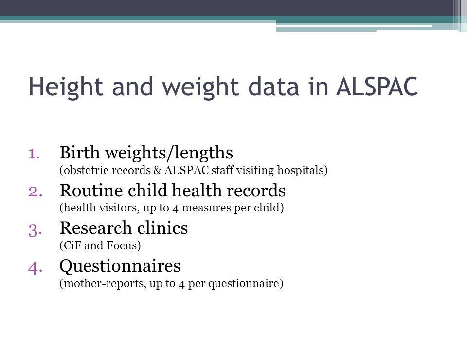 Data – birth to ten years HeightWeight BoysN= 7194 Median = 5 IQR = 2-8 N= 7248 Median = 5 IQR = 3-8 GirlsN= 6733 Median = 5 IQR = 2-8 N= 6781 Median = 5 IQR = 3-8