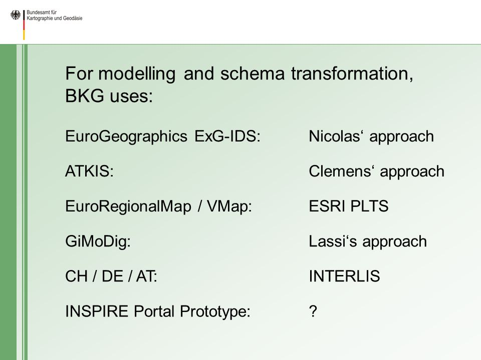 For modelling and schema transformation, BKG uses: EuroGeographics ExG-IDS:Nicolas approach ATKIS:Clemens approach EuroRegionalMap / VMap:ESRI PLTS GiMoDig:Lassis approach CH / DE / AT:INTERLIS INSPIRE Portal Prototype: