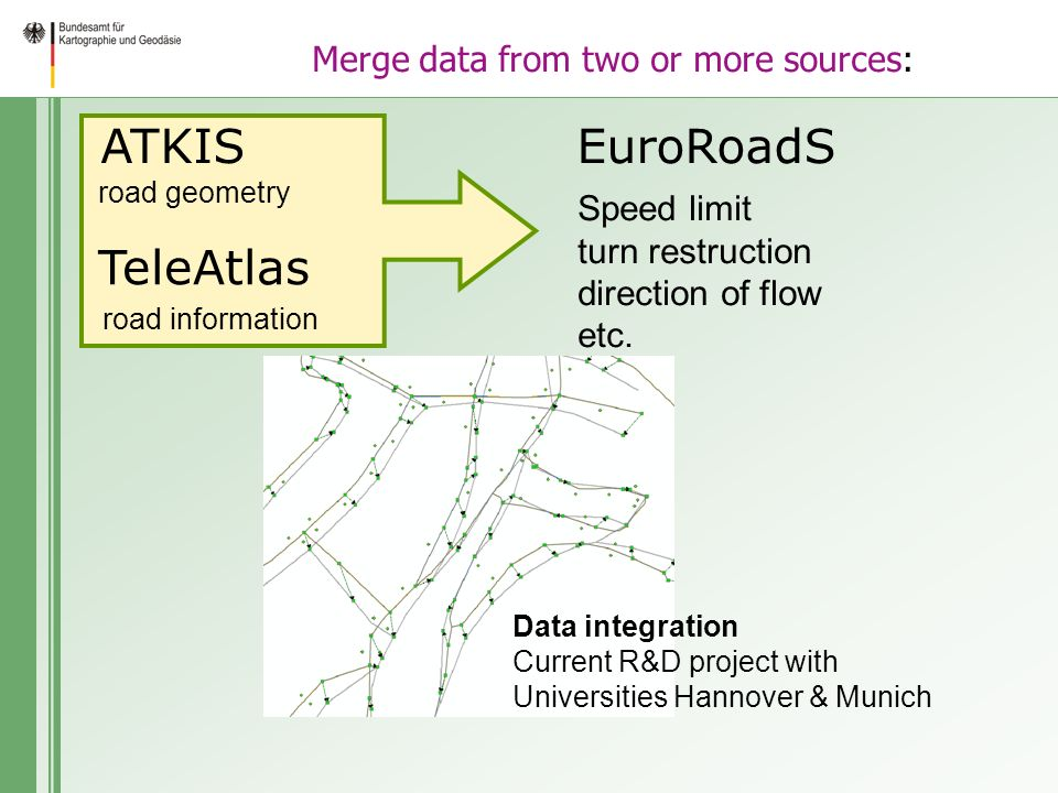 Merge data from two or more sources: ATKISEuroRoadS Speed limit turn restruction direction of flow etc.