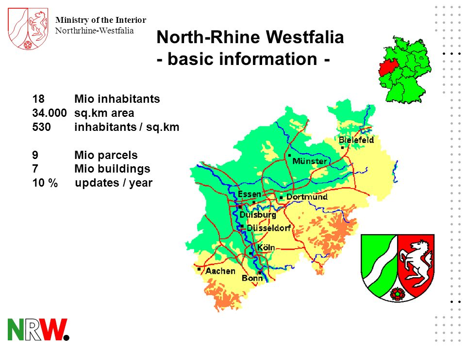 Ministry of the Interior Northrhine-Westfalia North-Rhine Westfalia - basic information - 18 Mio inhabitants sq.km area 530 inhabitants / sq.km 9 Mio parcels 7 Mio buildings 10 % updates / year