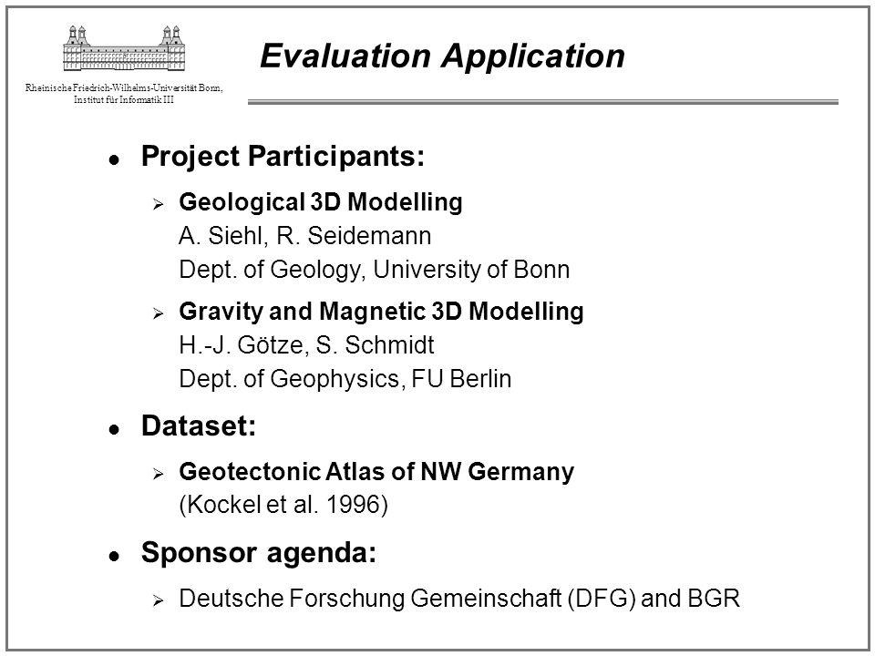Rheinische Friedrich-Wilhelms-Universität Bonn, Institut für Informatik III Evaluation Application Project Participants: Geological 3D Modelling A. Si