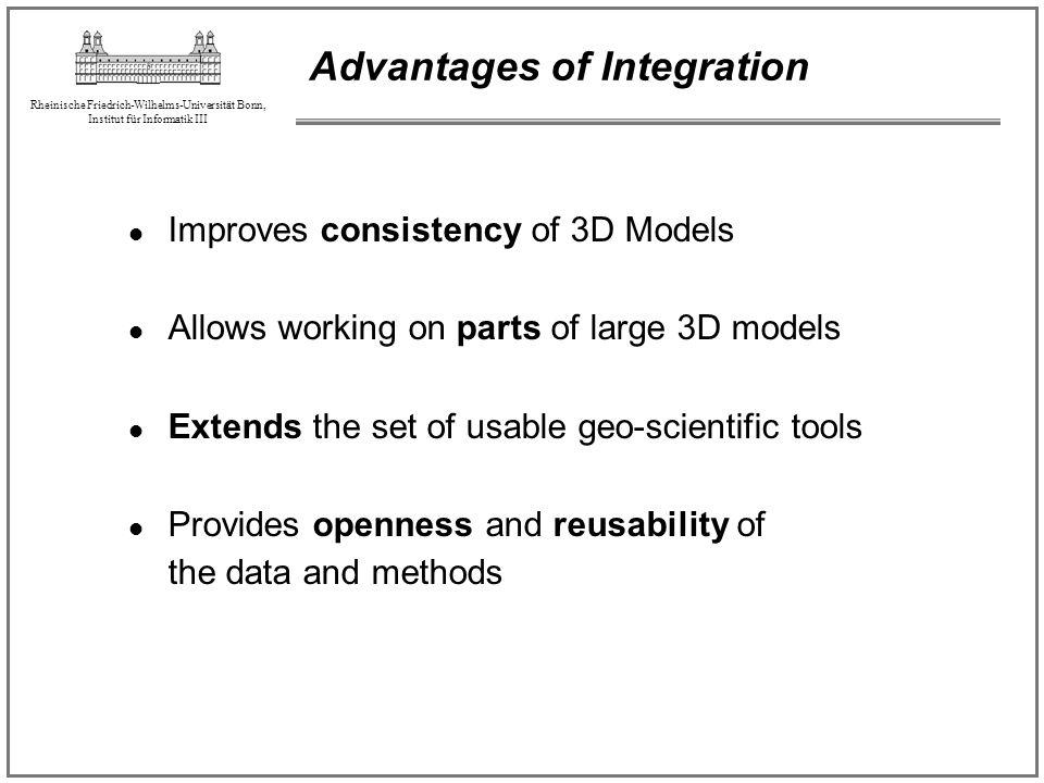 Rheinische Friedrich-Wilhelms-Universität Bonn, Institut für Informatik III Advantages of Integration Improves consistency of 3D Models Allows working